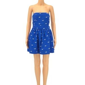 Royal Blue & White Seagull Print Strapless Dress L